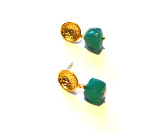 Green Gold Stud Earrings / Green Onyx Gold Earrings / Geometric Gold Green Gemstone Post Earrings / Geometric Earrings / Minimalist Earrings