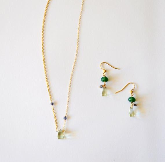 Wedding Jewelry Set Simple Modern Geometric Green Amethyst Etsy