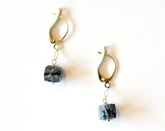 Blue Silver Earrings Geometric Square Cube Modern Rutilated Quartz Gemstone Sterling Chain Bridal Jewelry Black Owned Business Shop