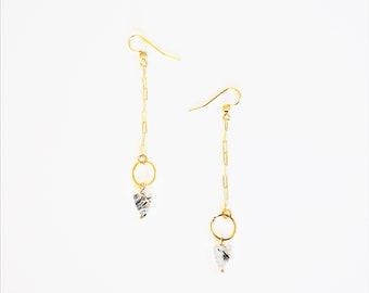 Long 14K Gold Chain Earrings Geometric Arrow Tourmalinated Quartz Gemstone Sticks Anthropologie Boho Style Black Owned Business Shop