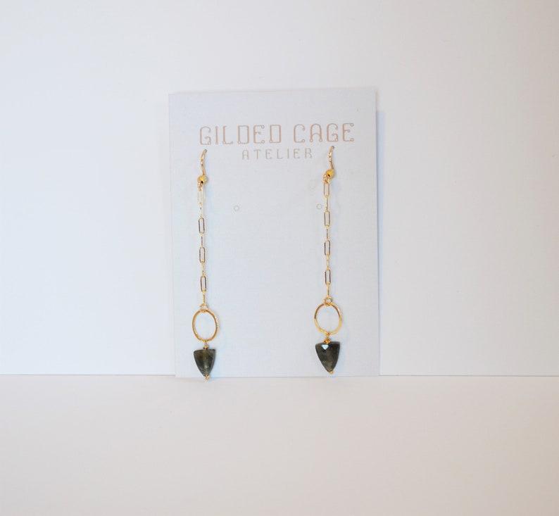Gold Arrow Earrings 14K Gold Carnelian Gemstone Geometric Orange Boho Style Bohemian Healing Stone Black Owned Business Shop
