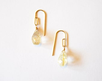 Gold Geometric Gemstone Earrings / Modern Gold Gemstone Earrings / Minimalist Earrings / Geometric Gold Rutilated Quartz Gemstone Earrings