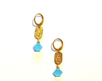 Gold Turquoise Earrings / Small Gold Turquoise Earrings / Blue Chalcedony Gold Earrings / Brass Geometric Earrings with Chalcedony Gemstones