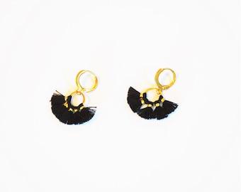 Boho Black Gold Tassel Earrings Anthropologie Style Small Geometric Afro American Etsy Seller Black Owned Business Shop
