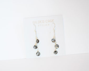 Sterling Silver Chain Tourmalated Rutilated Quartz Earrings Dangle Teardrop Gemstone with Stick Black Owned Business Shop