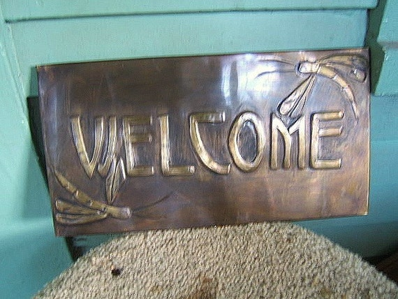 Brass Tooled Dragonfly Welcome Sign