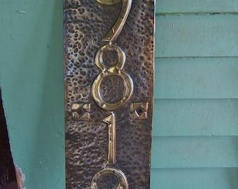 Vertical Hurd Rose Craftsman House Number plaque