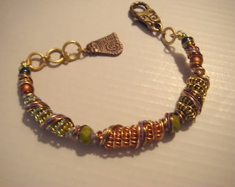My#172BR Copper/Gold/Green Wire Bracelet- wire wrapped - A nice birthday gift!