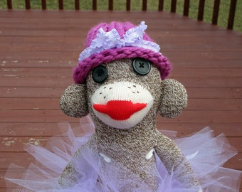 Sock Monkey Doll with TuTu and Hat - Rockford Red Heel Sock Monkey - Handmade in Rockford, IL
