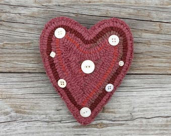 Primitive Rug Hooking - Hand Hooked Pink Heart Pillow with Vintage Buttons - Folk Art Valentine's Day Home Decor