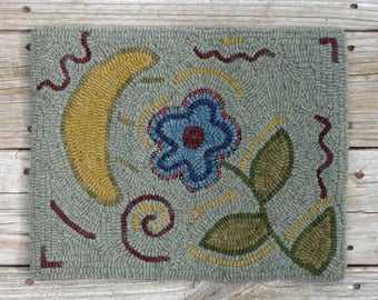 Primitive Hooked Rug Moon and Flower Mat - Hand Hooked Rug Hooking Folk Art (Free Shipping)