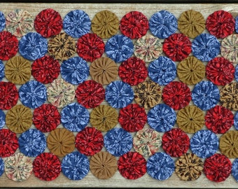 Primitive Yo Yo Quilt Table Runner - Red, Blue, Gold - Summertime Table Runner - (Free Shipping)