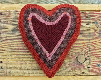 Primitive Rug Hooking - Hand Hooked Heart Pillow - Folk Art Valentine's Day Home Decor
