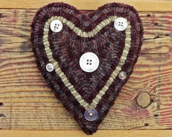 Primitive Rug Hooking - Folk Art Hand Hooked Heart Pillow with Vintage Buttons - Valentine's Day Heart