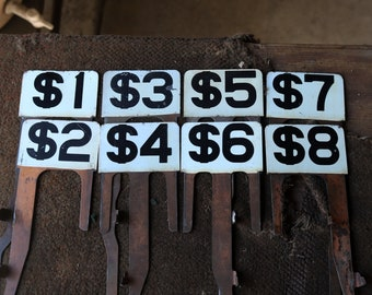 Cash Register Flags, Large Planter Stake, International Shipping, Vintage Number, Table numbers, Wedding Table Numbers, Industrial Décor,