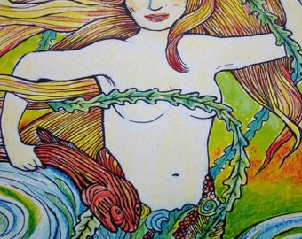 """Helen; Mermaid of the Sea, Siren Print From Original Painting 8"""" x 10"""" Matted to 11"""" x 14"""""""