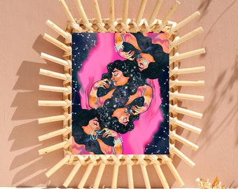 16x20 9x11 Original Art by Erin Kuhn wlw art lesbian pride spiritual cosmic mystical astrological horoscope stars portrait goddess