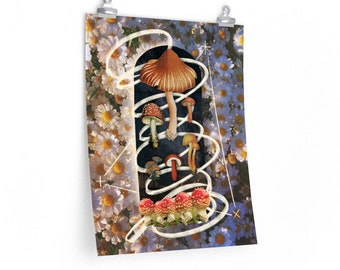 Voyager Forager Mushroom art print psychedelic art mycology mystical fungi collage mixed media print 16x20 9x11