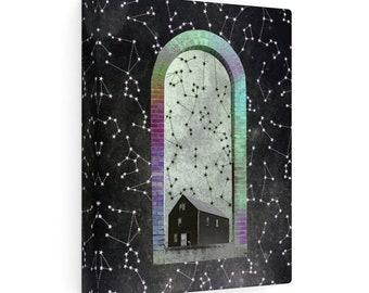 Salem Portal Rainbow Arch Digital Collage Canvas Print Spiritual Journey Shaman Healer Occult Psychedelic Art
