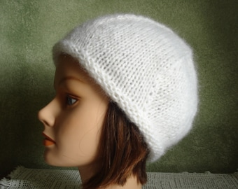 39a3b43712dc8 Fluffy White Mohair Acrylic Blend Beret Cap Hat Handknit by Lynne READY TO  SHIP!