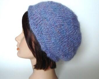 c2f51949fe0b1 Lavender Italian Mohair   Wool Beret Cap Hat Handknit by Lynne