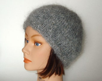 6573562d28bb5 Light Silver Gray English Mohair Beret Cap Hat Handknit by Lynne READY TO  SHIP!