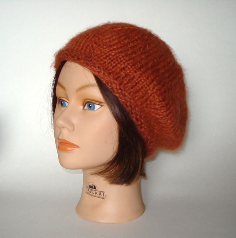 22e65502984ac Persimmon Burnt Orange Beret Hat Cap Slouch Handknit by Lynne