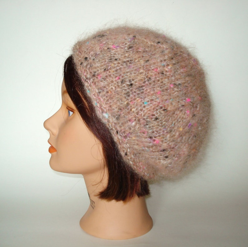 3294e60637676 Pink Ivory English Mohair Beret Cap Hat Handknit by Lynne