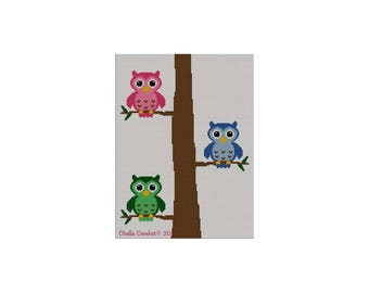 dd4899040 INSTANT DOWNLOAD Chella Crochet Colorful Owls in Tree Number 2 Afghan  Crochet Knit Cross Stitch Pattern Graph