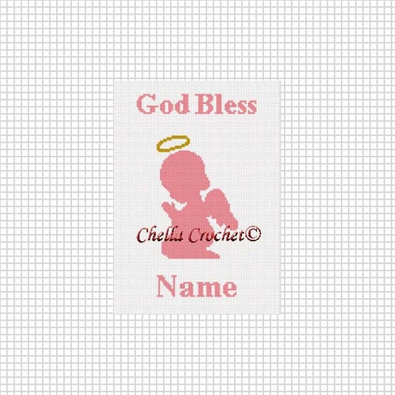 GOD BLESS BABY BOY SILHOUETTE *Personalized* Graph Afghan Chart Crochet Pattern
