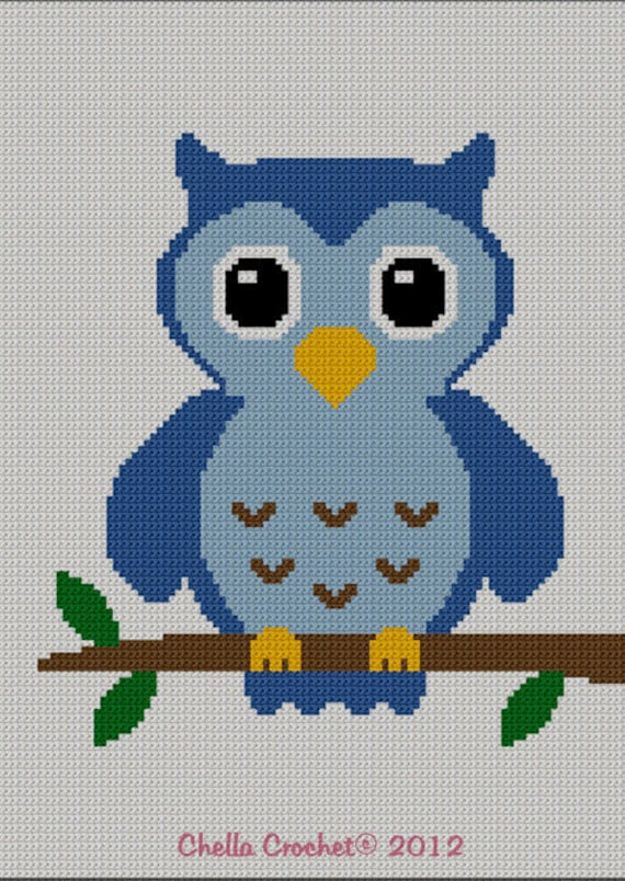 Instant Download Chella Crochet Easy Too Cute Blue Baby Owl Etsy