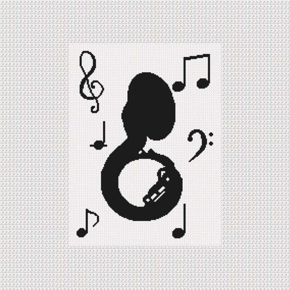 INSTANT DOWNLOAD Chella Crochet Sousaphone Tuba Music Musical Notes  Silhouette Afghan Crochet Pattern Graph Chart  PDF