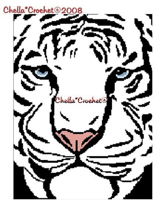 Crochet Patterns-WHITE TIGER Color Graph Afghan Pattern