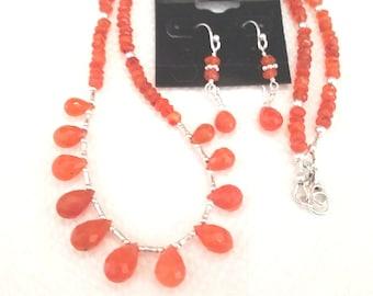 Carnelian Necklace and Earrings in Sterling Silver