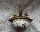 Antique French Porcelain and Gilt Bronze Double Inkwell