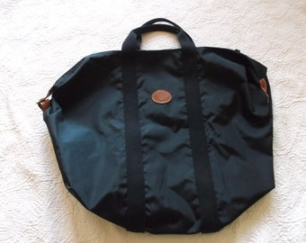 a74f0cf1cce7 Vintage Longchamp Large Black le Pliage Nylon and Leather Weekend Tote
