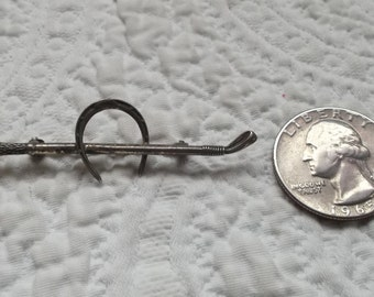 Vintage Equestrian Sterling Silver Riding Crop and Horse Shoe Brooch/Pin