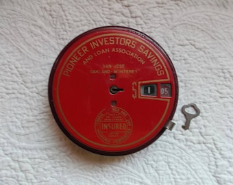 Vintage California Pioneer Investors Savings Add-O Bank Made  by Steel Products Corp San Francisco with Key