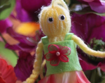 "Handmade collectible yarn doll ""Spring"""