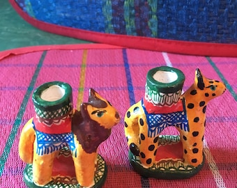 Hand Painted Miniature Tiger and Leopard Mexican Ceramic Birthday Candle Holders, Mexican Folk Art Table Top Decor