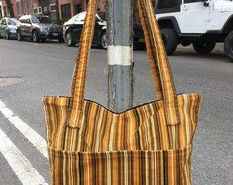 Gold and Brown Striped Corduroy Zipper Top Tote Bag, Shoulder Bag