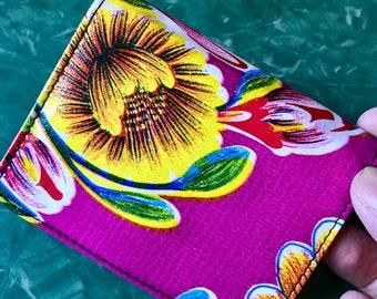 Purple Floral Oil Cloth Trifold Wallet, Vinyl Women's Wallet, Credit Card Case