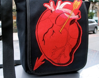 Anatomical Heart Black Canvas Courier bag, Corazon Messenger Bag, Canvas Shoulder Bookbag Daybag