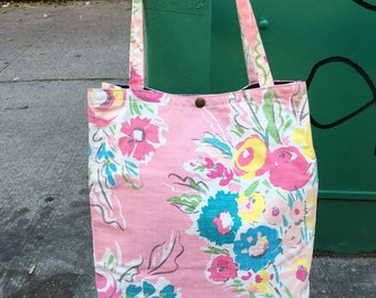 Pink Floral Cotton Print Beach Bag, Shopping Tote, Market Bag