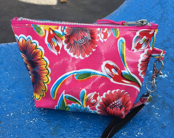 "Featured listing image: Pink Floral 7"" Oil Cloth Wristlet, Clutch Purse, Travel Wrist bag"