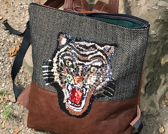 Faux Leather and Tweed Tiger Backpack, Knapsack, Sequined Tiger Bag