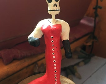 La Catrina Red Dress Women Day of the Dead Figurine, Dia De Los Muertos Ceramic Skeleton Miniature