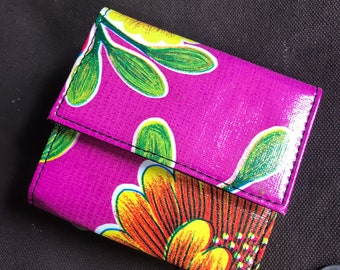 Oil Cloth Purple French Purse Trifold Wallet, Women's Floral Wallet, Credit Card Case