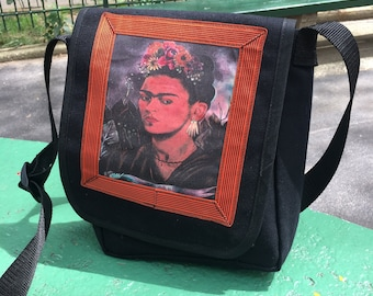Frida Black Canvas Messenger Bag, Crossbody Daybag, Courier Bag