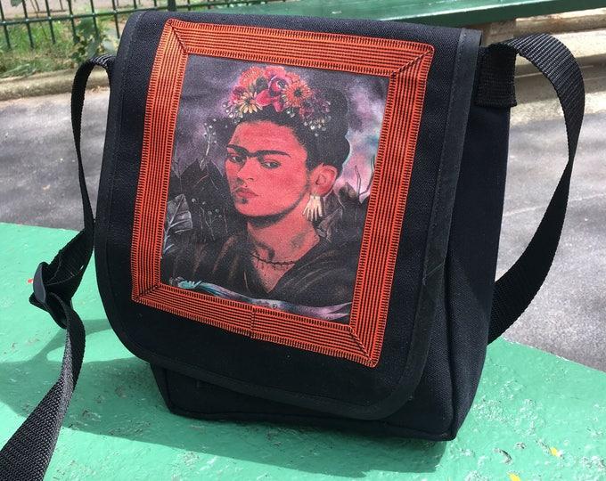 Featured listing image: Frida Kahlo Black Canvas Messenger Bag, Crossbody Daybag, Courier Bag